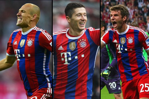 Robben, Muller y Lewandowski (Bayern Munich)