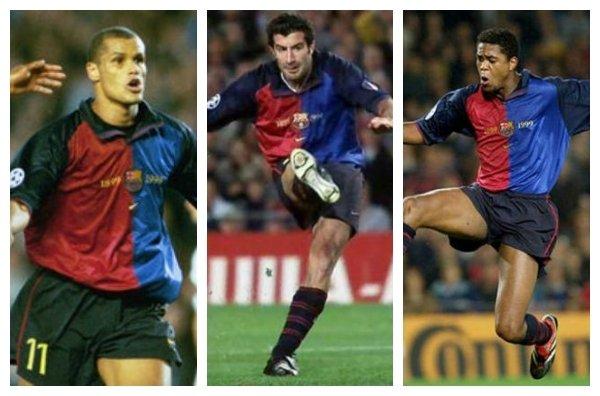 Figo, Kluivert y Rivaldo